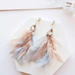 Handmade boho feather earrings